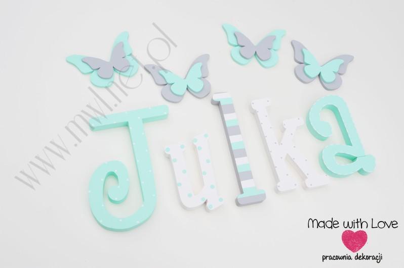 Literki imię dziecka na ścianę do pokoju - 3d 25 cm - wzór MWL88 julia julka julcia