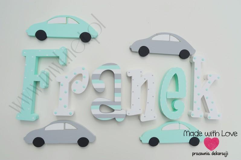 Literki imię dziecka na ścianę do pokoju - 3d 25 cm - wzór MWL88 franio franek franciszek franuś