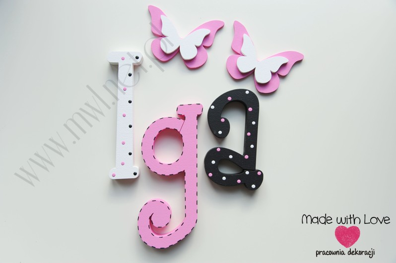 Literki imię dziecka na ścianę do pokoju - 3d 25 cm - wzór MWL86 iga igusia igunia