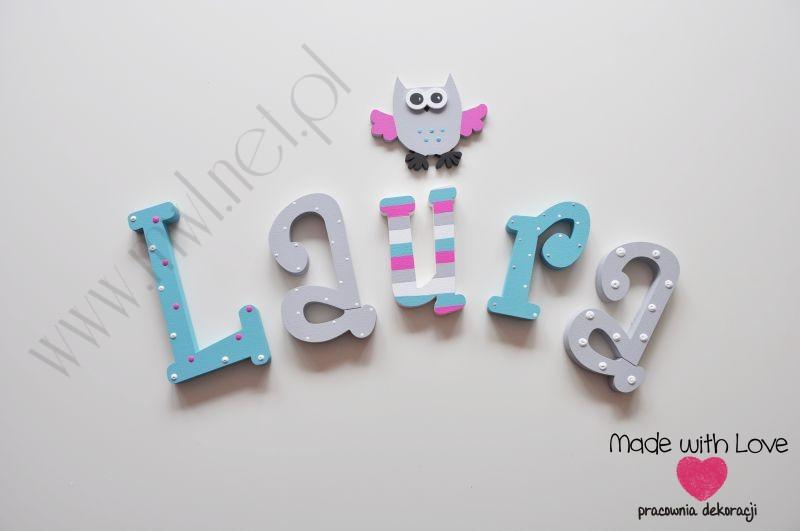 Literki imię dziecka na ścianę do pokoju - 3d - wzór MWL2 laura laurka tosia