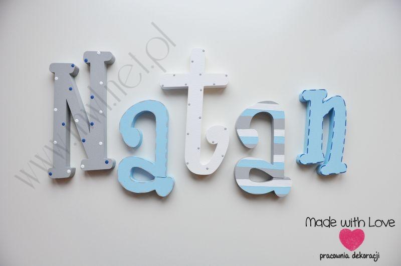 Literki imię dziecka na ścianę do pokoju - 3d - wzór MWL3 nataniel natan natanek natan