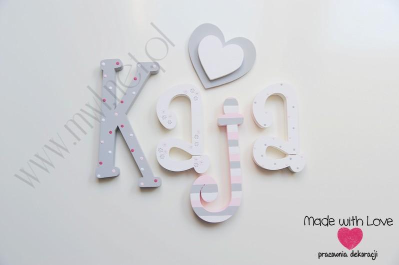 Literki imię dziecka na ścianę do pokoju - 3d 25 cm - wzór MWL97 kaja kajunia