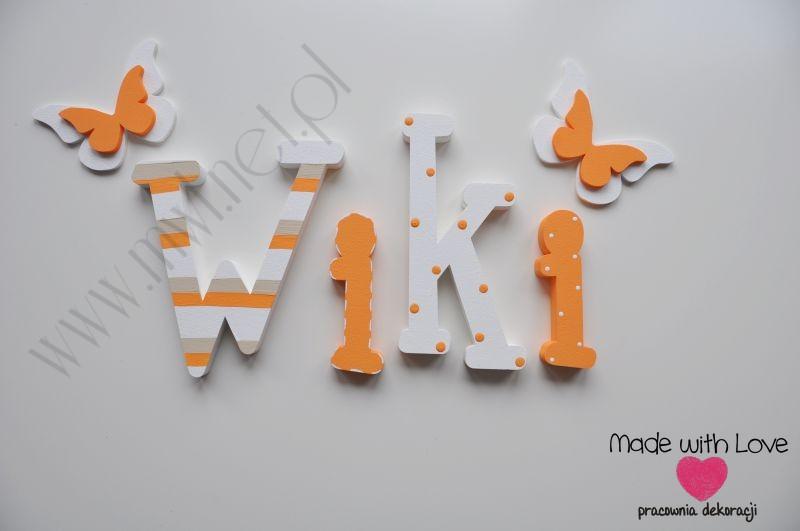 Literki imię dziecka na ścianę do pokoju - 3d 25 cm - wzór MWL98