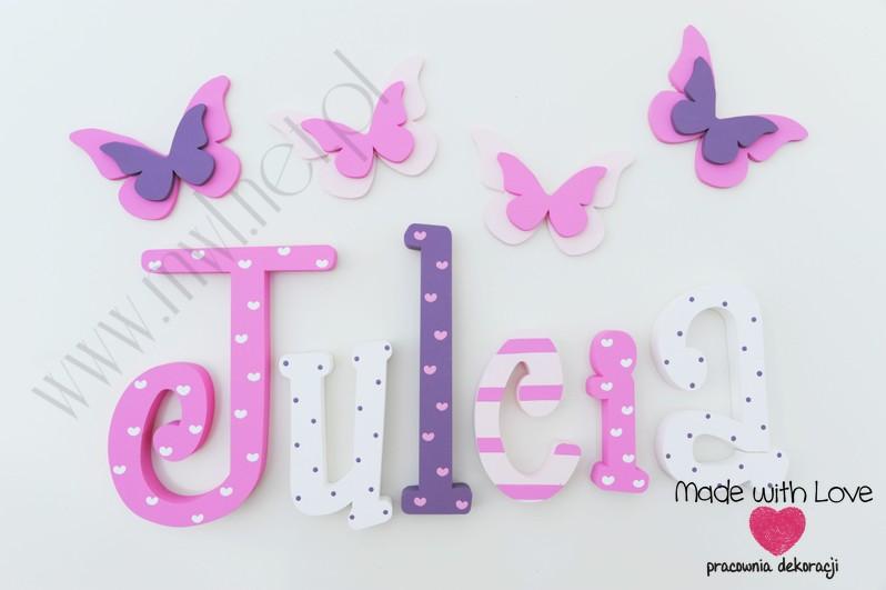 Literki imię dziecka na ścianę do pokoju - 3d 25 cm - wzór MWL114 julia julka julcia