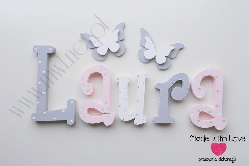 Literki imię dziecka na ścianę do pokoju - 3d 25 cm- wzór MWL101 laura laurka