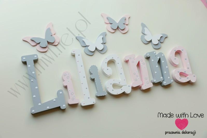Literki imię dziecka na ścianę do pokoju - 3d 25 cm- wzór MWL101 liliana lilianka lilka lili lilianna