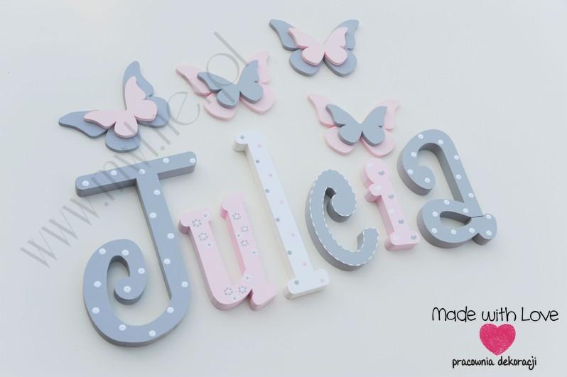 Literki imię dziecka na ścianę do pokoju - 3d 25 cm- wzór MWL101 julia julcia julka