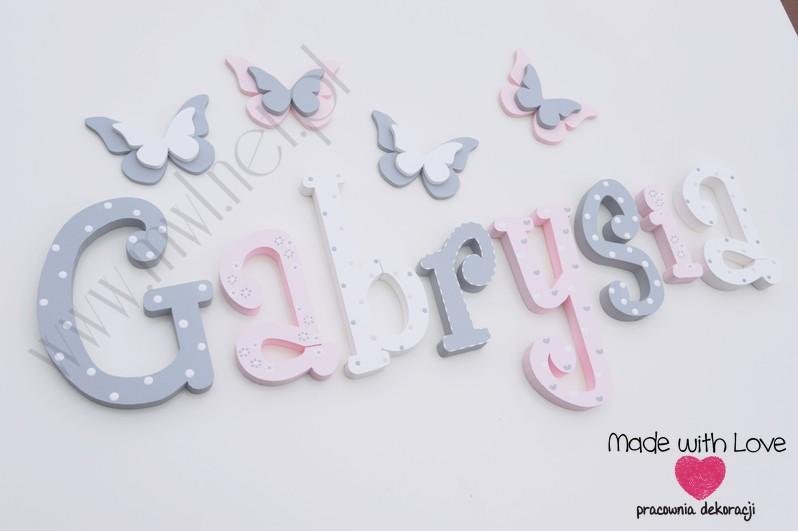 Literki imię dziecka na ścianę do pokoju - 3d 25 cm- wzór MWL101 gabi gabrysia