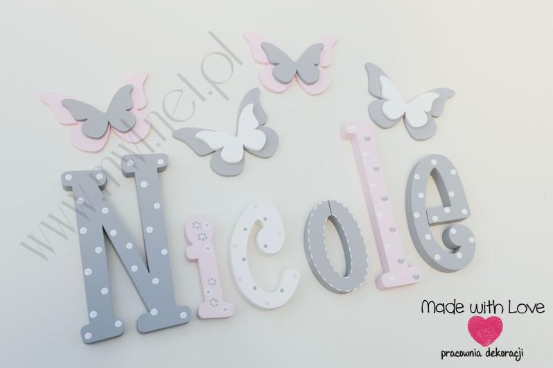 Literki imię dziecka na ścianę do pokoju - 3d 25 cm- wzór MWL101 nicole
