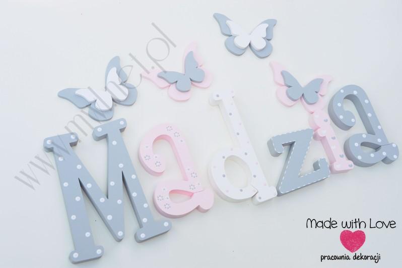 Literki imię dziecka na ścianę do pokoju - 3d 25 cm- wzór MWL101 madzia magda magdalena
