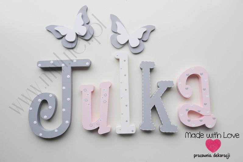 Literki imię dziecka na ścianę do pokoju - 3d 25 cm- wzór MWL101 julia julka