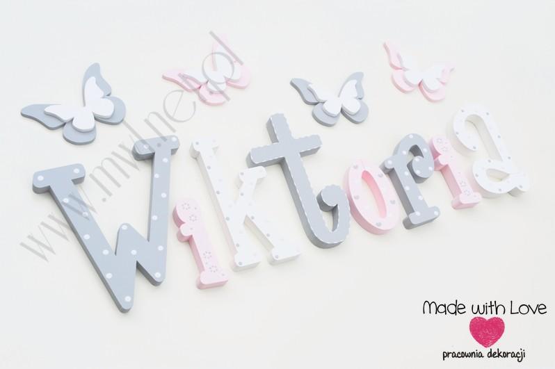Literki imię dziecka na ścianę do pokoju - 3d 25 cm- wzór MWL101 wiki wiktoria