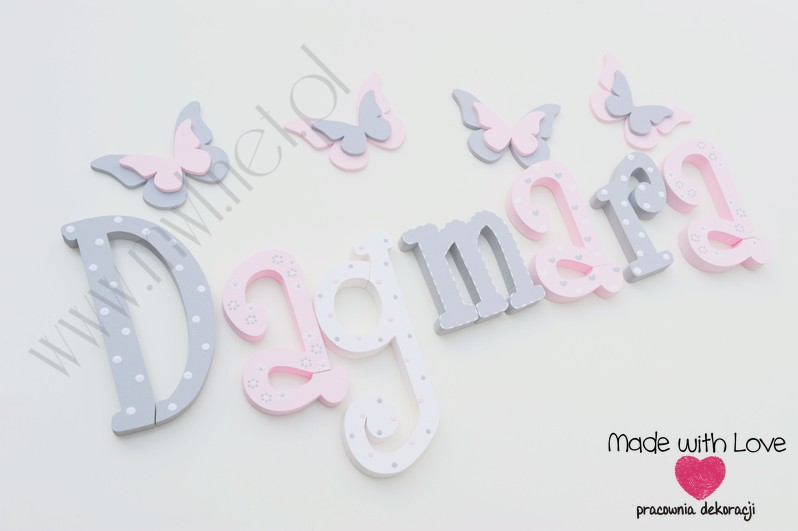 Literki imię dziecka na ścianę do pokoju - 3d 25 cm- wzór MWL101 daga dagmara