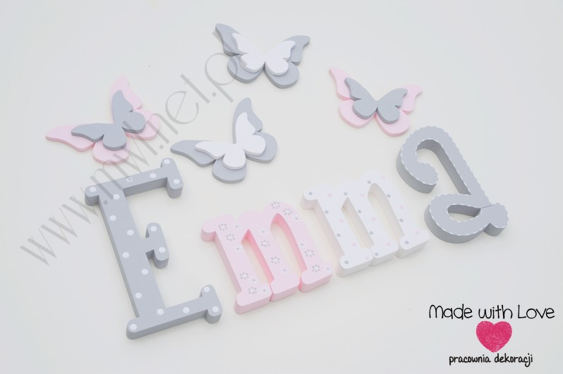 Literki imię dziecka na ścianę do pokoju - 3d 25 cm- wzór MWL101 emma