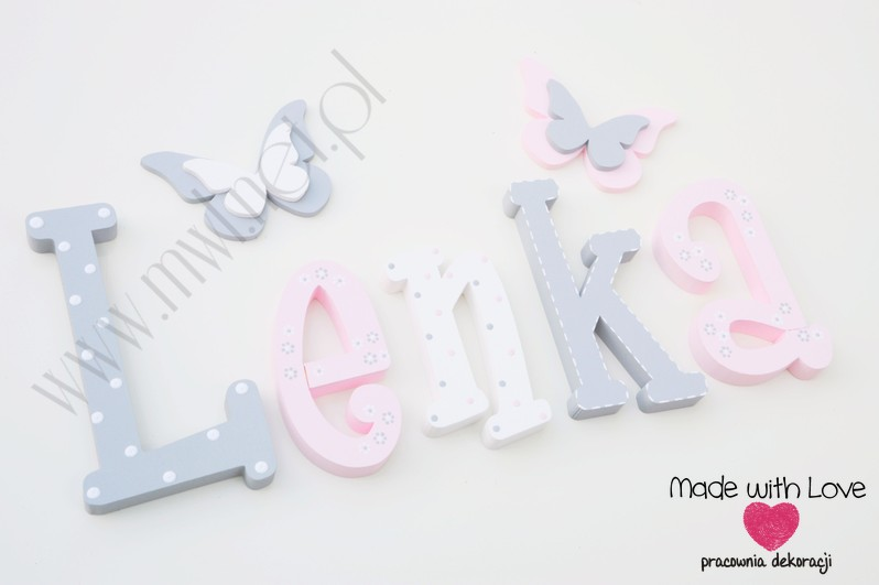Literki imię dziecka na ścianę do pokoju - 3d 25 cm- wzór MWL101 lenka lena