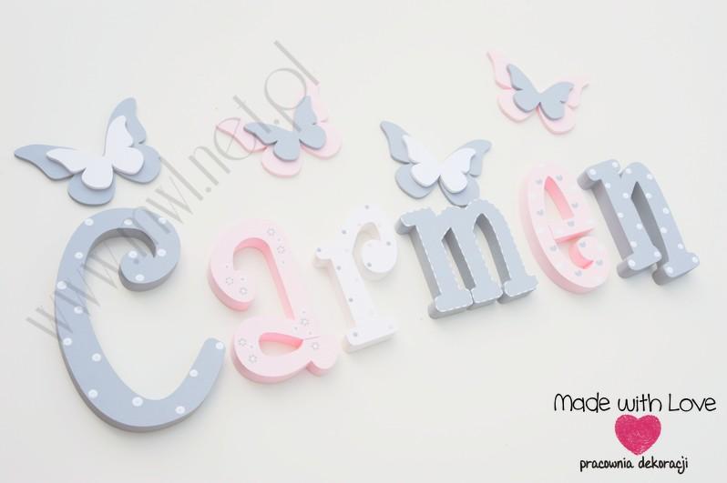 Literki imię dziecka na ścianę do pokoju - 3d 25 cm- wzór MWL101 carmen