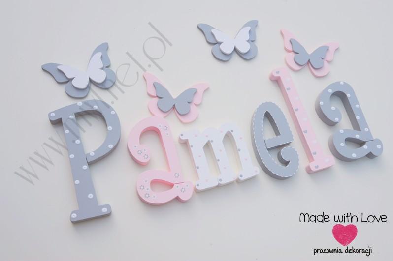 Literki imię dziecka na ścianę do pokoju - 3d 25 cm- wzór MWL101 pamela pamelka