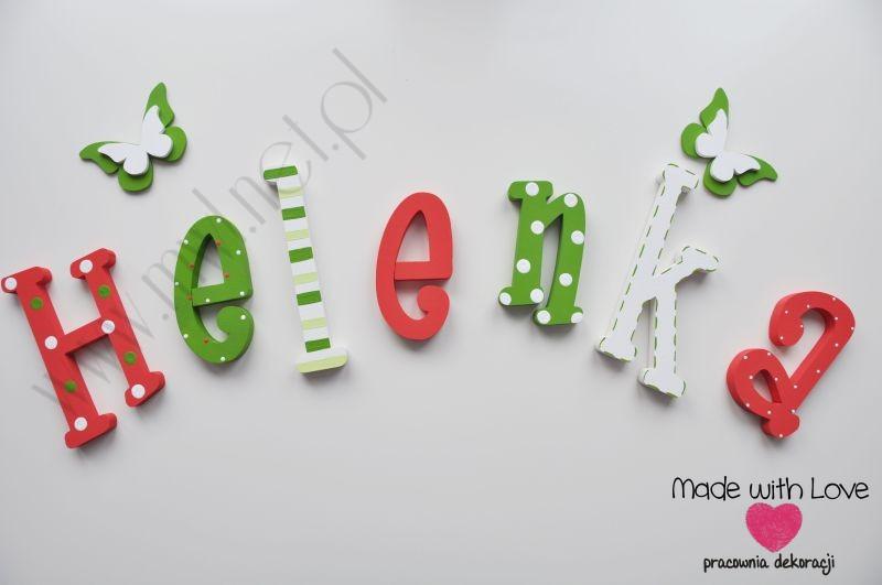 Literki imię dziecka na ścianę do pokoju - 3d - wzór MWL31 helenka helenka