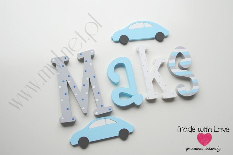 Literki imię dziecka na ścianę do pokoju - 3d 30 cm - wzór MWL3 maks maksymilian