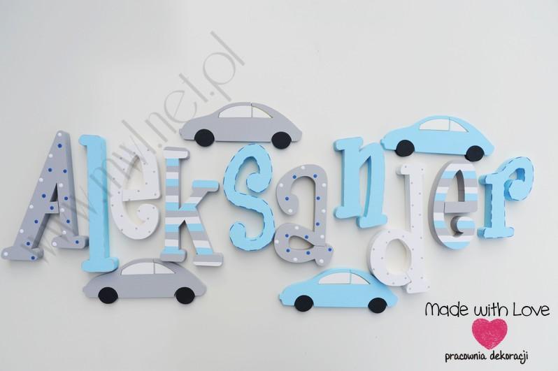 Literki imię dziecka na ścianę do pokoju - 3d 30 cm - wzór MWL3 aleksander olek