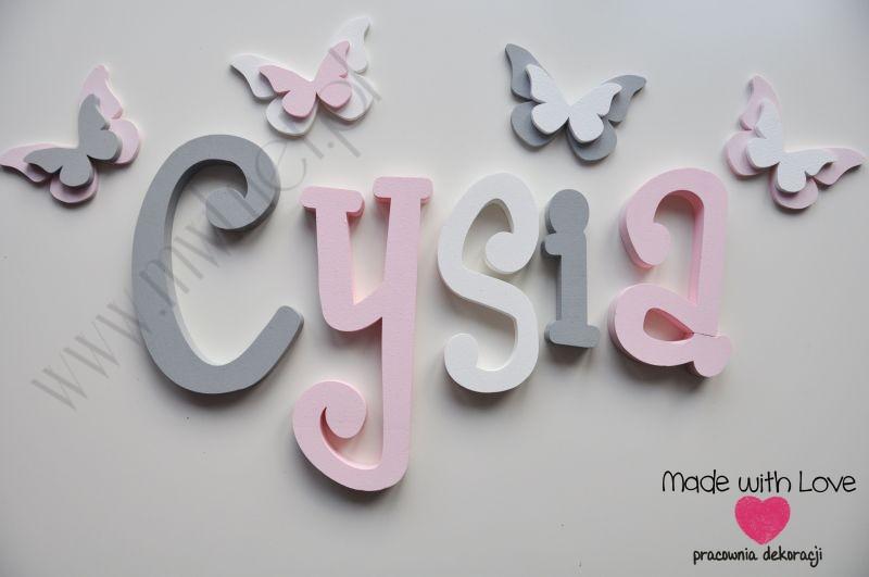 Literki imię dziecka na ścianę do pokoju - 3d - wzór MWL37 cysia marcysia marcelina szary różowy pastele