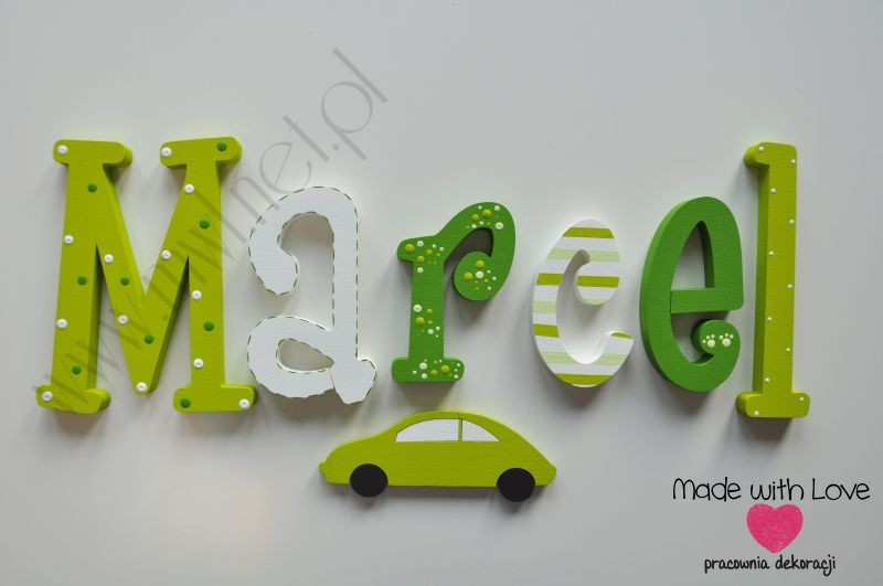 Literki imię dziecka na ścianę do pokoju - 3d 30 cm - wzór MWL4 marcel marcelek