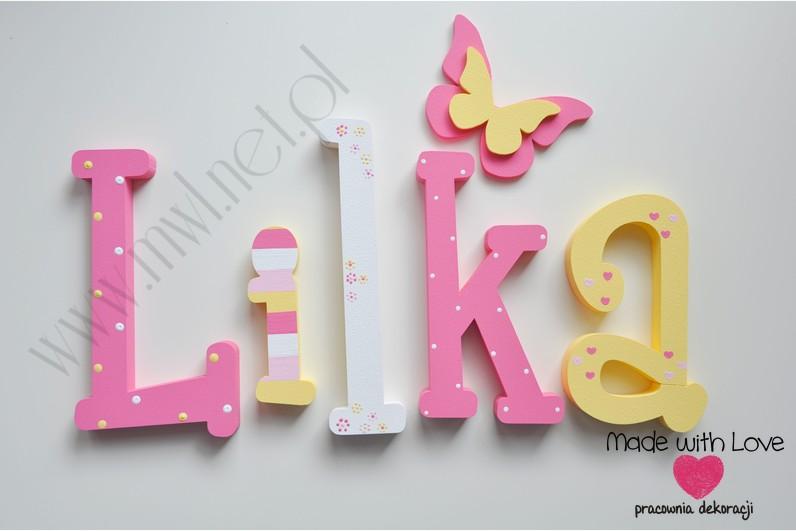 Literki imię dziecka na ścianę do pokoju - 3d 30 cm - wzór MWL5 lilka liliana lilka lili