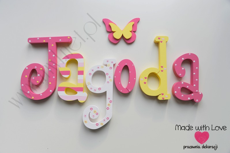 Literki imię dziecka na ścianę do pokoju - 3d 30 cm - wzór MWL5 jagoda jagódka