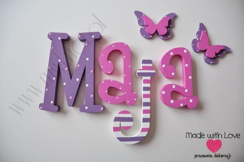 Literki imię dziecka na ścianę do pokoju - 3d 30 cm - wzór MWL7 maja majka