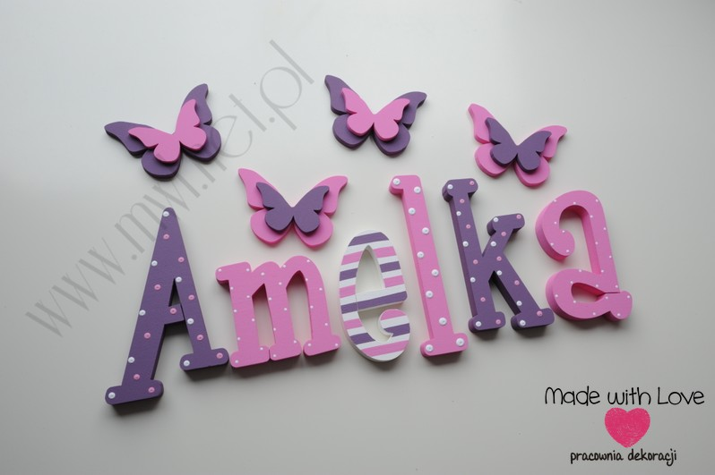 Literki imię dziecka na ścianę do pokoju - 3d 30 cm - wzór MWL7 amelia amelka mela