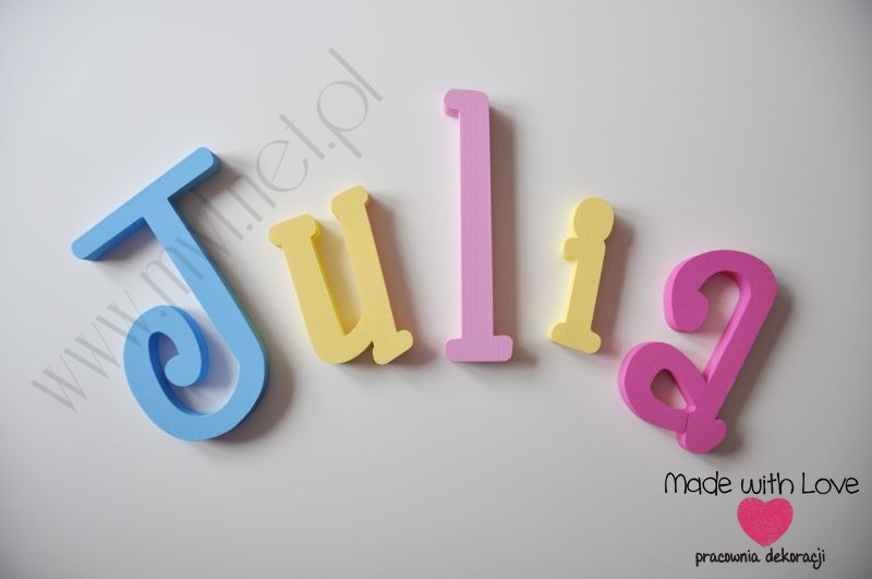 Literki imię dziecka na ścianę do pokoju - 3d 30 cm- wzór MWL8
