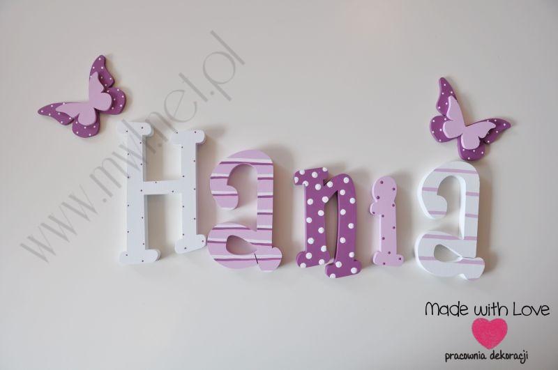 Literki imię dziecka na ścianę do pokoju - 3d 30 cm - wzór MWL9 hania hanka haneczka fiolet biały pastele