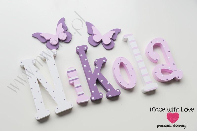 Literki imię dziecka na ścianę do pokoju - 3d 30 cm - wzór MWL9 nikola nikolka niki nikosia fiolet biały pastele