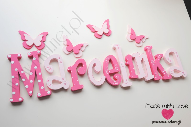 Literki imię dziecka na ścianę do pokoju - 3d 30 cm - wzór MWL10 marcelina marcelinka