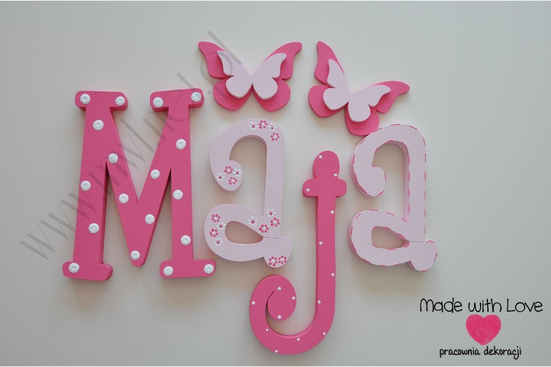 Literki imię dziecka na ścianę do pokoju - 3d 30 cm - wzór MWL10 maja majka