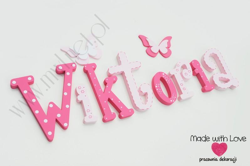 Literki imię dziecka na ścianę do pokoju - 3d 30 cm - wzór MWL10 wiki wiktoria wika