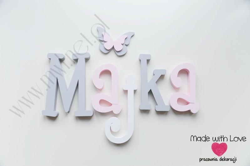 Literki imię dziecka na ścianę do pokoju - 3d - wzór MWL37 maja majka szary różowy pastele
