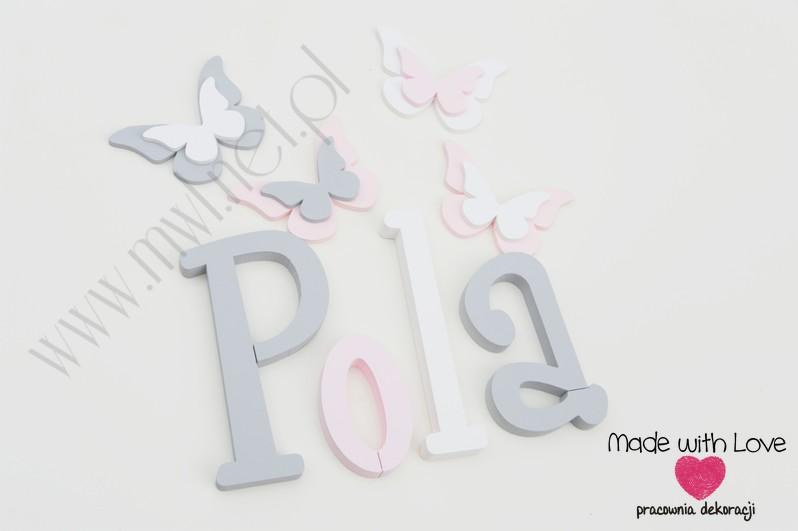 Literki imię dziecka na ścianę do pokoju - 3d - wzór MWL37 pola polcia apolonia szary różowy pastele