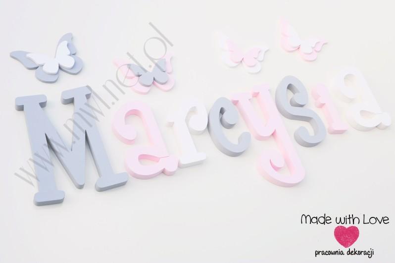 Literki imię dziecka na ścianę do pokoju - 3d - wzór MWL37 marcysia cysia szary różowy pastele