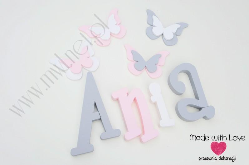 Literki imię dziecka na ścianę do pokoju - 3d - wzór MWL37 ania anna anka szary różowy pastele