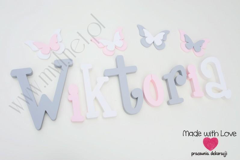 Literki imię dziecka na ścianę do pokoju - 3d - wzór MWL37 wiki wiktoria szary różowy pastele