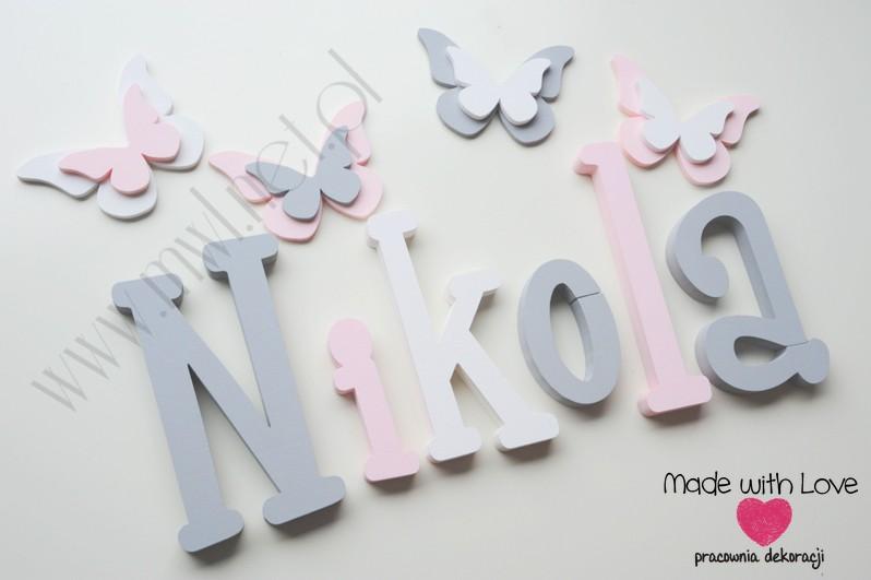 Literki imię dziecka na ścianę do pokoju - 3d - wzór MWL37 niki nikola nikolka szary różowy pastele