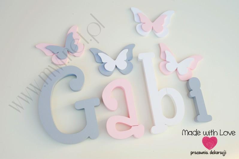 Literki imię dziecka na ścianę do pokoju - 3d - wzór MWL37 gabi gabrysia szary różowy pastele