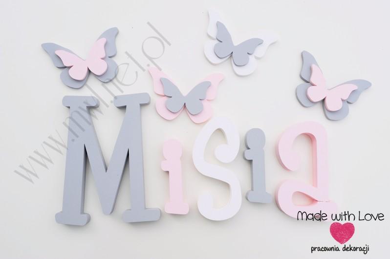 Literki imię dziecka na ścianę do pokoju - 3d - wzór MWL37 michalina misia michasia szary różowy pastele