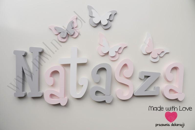 Literki imię dziecka na ścianę do pokoju - 3d - wzór MWL37 natasza szary różowy pastele