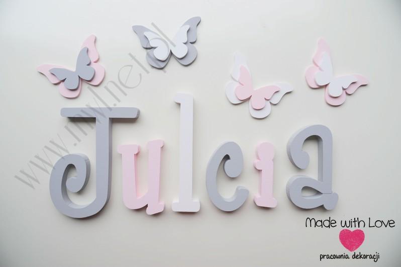 Literki imię dziecka na ścianę do pokoju - 3d - wzór MWL37 julcia szary różowy pastele