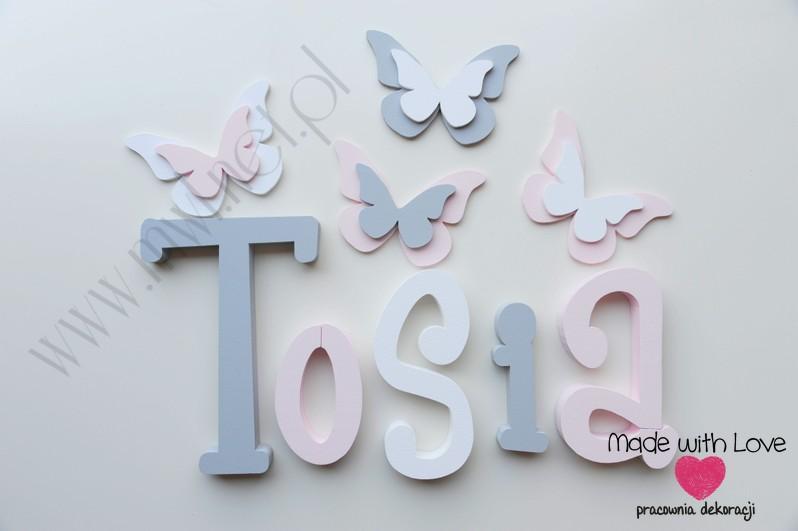 Literki imię dziecka na ścianę do pokoju - 3d - wzór MWL37 tosia antosia antonina szary różowy pastele