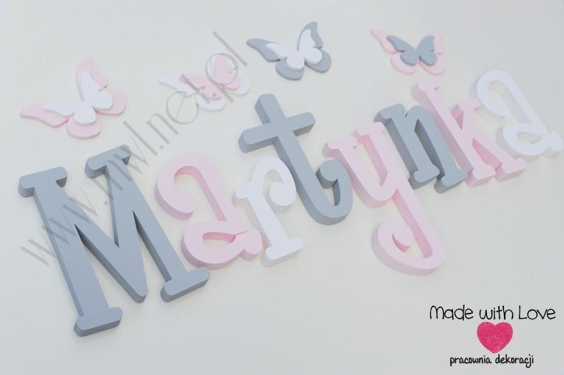 Literki imię dziecka na ścianę do pokoju - 3d - wzór MWL37 martyna martynka szary różowy pastele