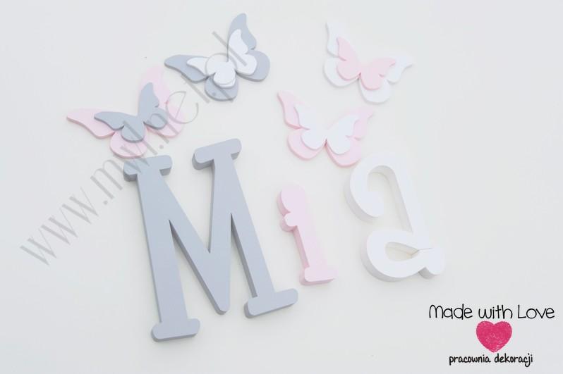 Literki imię dziecka na ścianę do pokoju - 3d - wzór MWL37 mia szary różowy pastele