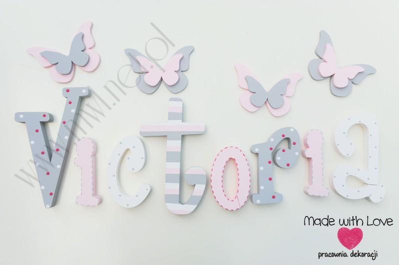 Literki imię dziecka na ścianę do pokoju - 3d 30 cm - wzór MWL16 viki victoria